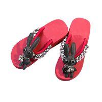 Wholesale Fashion Heels China - Women Summer Slippers Beach Platform Sandals Ladies Wedge Shoes Handmade China Rabbit Fashion Flip Flops Slides Heel 6cm