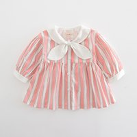 Wholesale t shirt dress korean style - 2 color 2018 Korean style spring new fashion new arrivals Girls Baby plaid dress+cotton cute doll lace collar t shirt two sets