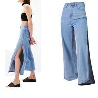 брюки свободные промежности оптовых-Loose Side Split Jeans Boyfriend High Waist Wide Leg Jeans Baggy Denim Capri Pants Wide Summer Women Open Crotch Trousers