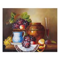 el boyalı şarap toptan satış-Tuval Üzerine Yağlıboya Baskılar Duvar Sanatı Resim Oturma Odası Ev Dekorasyonu için Çerçevesiz El-boyalı yağlıboya şarap meyve SHD4-101