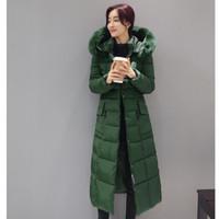 Wholesale korea fashion jacket winter - Winter Down Jacket Coat 2017 Korea Fashion Long Thickening Down Cotton-padded Jacket Hooded Slim Big Yards Women Clothing BH040