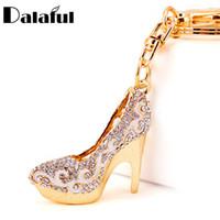 Wholesale shoe holder for rings online - Dalaful Crystal High Heels Shoes Key Chains Rings Holder Flower Enamel Bag Pendant For Car Keyrings KeyChains K289