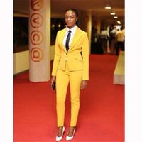 Wholesale Navy Uniforms Women - Hot Selling Yellow Suits For Women Business Suit Formal Wear Blazer and Pant Sets Elegant Office Uniforms