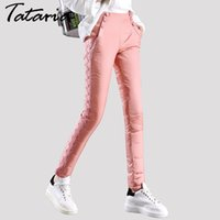 Wholesale black woman wearing velvet for sale - Group buy Thick double sided outer wear down pants female trousers lace Slim thin thick new winter plus velvet pants women Tataria