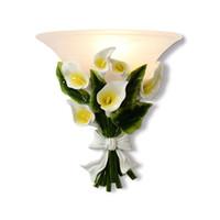 luz do sconce da flor venda por atacado-Calla Europeia Quarto Cabeceiras de Parede Arandelas Nordic Pastoral Sala Luzes de Parede Flores Corredor Varanda Lâmpadas de Parede