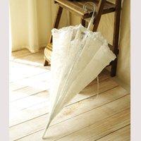 cogumelo de cristal venda por atacado-23 polegadas Arqueado Princesa Guarda-chuva Cogumelo Transparente Bumbershoot Fronteira Guarda-chuvas De Cristal Longo Lidar Com Branco