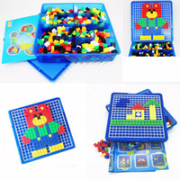 Wholesale picture puzzles kids - Mushroom Nail kids Puzzles Toys Mosaic 3D Picture Puzzles Kit Composite Picture Colorful Buttons Kids Educational DIY Toy gift FFA180 12PCS