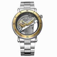 relógio de luxo vencedor venda por atacado-VENCEDOR Escala romana Através da faixa inferior Cinto De Aço Simples Luxo presente vestido moda casual Relógio mecânico automático
