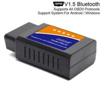 mini protocolo al por mayor-ELM327 V1.5 Super Mini Escáner Bluetooth Interfaz inalámbrica Lectores de códigos de interfaz automáticos Herramienta de diagnóstico Protocolos OBDII CDT_00J