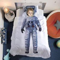 queen size duvet brand 2018 - New Brand 3D Children Bedding set Astronaut Captain Bed duvet cover White Color Twin Full Queen Size 3pcs For Boys gift