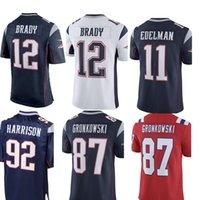 Wholesale gronkowski jersey white - 12 Tom Brady 92 James Harrison Patriots Jersey Men 87 Rob Gronkowski 14 Brandin Cooks 11 Julian Edelman Jerseys Blue White Red