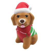 brinquedos cão squeeze venda por atacado-Brinquedos bonitos Chrismats Squishy Xmas Cão Squishy Kawaii Dos Desenhos Animados do natal filhote de cachorro Lento Rising Squishies PU Scented Squeeze Relief Toy