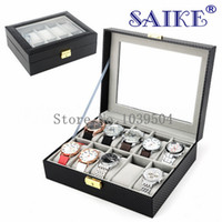 Wholesale fiber carbon keys case - Free Shipping Carbon Fiber 10 Slots Brand Watches Box With Key Black Leather Watch Display Box Top Watch Storage Boxes Case W022