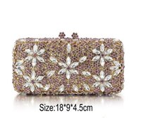 Wholesale hot prom bags online - Crystal Clutches Women Handbag Evening flowers Prom Party hot sale Bags Wedding long chain Purse Bridal