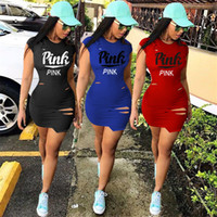 Wholesale hot women mini skirts - Love Pink Women One-piece Dress Summer Short Sleeve Skirts Pink Letter Girls Bodycon Ripped Dresses Sexy Tight Skirt Jogger Club Clothes Hot
