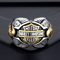Wholesale mens stainless steel eagle ring for sale - Group buy 2018 mens Stainless steel rings European and American Motorcycle men men s Double Eagle eagles rings ring hip hop jewelry