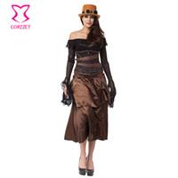 vestido vitoriano marrom venda por atacado-Brown Aço Desossada Corset Underbust Vestido Roupas Gótico Vitoriano Steampunk Traje Sexy Corsets E Bustiers Burlesque Vestidos