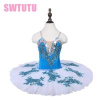 Wholesale latest women costume online - Latest Practicing Dance Tutu Skirt Kids Blue Bird Performance Ballet Tutu Stage Costume Dress BLST18072