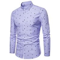 luxus männer s formale hemden großhandel-New Luxury Herren Slim Fit Shirt Langarm Formale Business Casual Top Shirt Herrenmode schlank gedruckt Kleidung