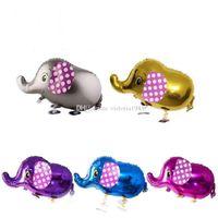 dibujos animados de globos de papel de aluminio al por mayor-80 * 45 cm Animales de Dibujos Animados Lindos Mascotas Caminar Elefante Papel Aluminio Globo Inflable Globos de Aire Fiesta de Cumpleaños Decoración Regalos Para Niños
