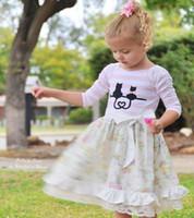 ingrosso gatto del partito-Vestito da principessa in pizzo con fiocco in frange a righe da bambina con fiocco in pizzo