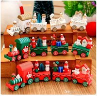 mini tahta trenler toptan satış-Ahşap Noel Noel Tren Dekorasyon Dekor Hediye Mini Noel Tren Ahşap Tren Model Araç Oyuncaklar için Chidlren c289