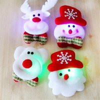 Wholesale Led Flash Badge - 1 Pc Christmas Gift LED Glowing Santa Snowman Deer Bear Glow Flashing Cartoon Brooch Badge Toy Christmas Luminous Decoration