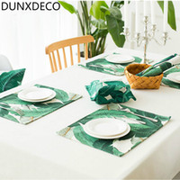 Wholesale green dinner plates - DUNXDECO Table Placemat Dinner Party Plate Cover Pad Desk Accessories Pastoral Style South East Asia Tropic Green Plant Decor