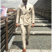 bej çift göğüslü kat toptan satış-Son Pantolon Ceket Tasarımları Fildişi Bej Çift Breasted Erkekler Suit Smokin Groomsmen Slim Fit Nazik Blazer (Ceket + Pantolon + Kravat)