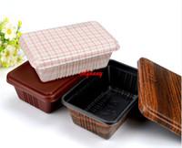 embalagem de caixa de lanche venda por atacado-300 pçs / lote Design Criativo de Grãos de Madeira Recipiente de Comida Descartável Lanche Embalagem Caixas Microwaveable PP Bento Box F051406