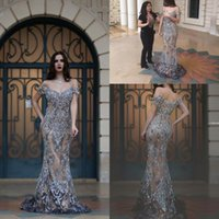 Wholesale art wear for sale - Luxury Dubai Dresses Evening Wear Mermaid Off the Shoulder Illusion Back Major Beading Sweep Train Formal Long Prom Dress Evening Gowns