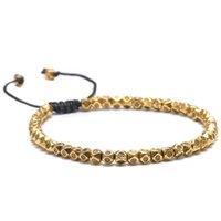 браслет дружбы из бисера оптовых-Handmade Braided Simple Retro  Bracelet For Men Women Multi Faceted Tibetan Silver Beaded Bracelet Friendship DIY Jewelry