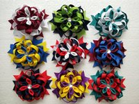Wholesale Handmade Ribbon Headbands - 10pcs 4 inch Baby Coiled flowers hair clips bows handmade boutique Headwear ribbon Bowknot Romantic Kanzashi girl hair accessories HD3552