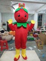 ingrosso cinese vestito di natale-Formato adulto mascotte wolfberry frutta costume di Halloween Natale rosso wolfberry frutta carnevale vestito completo corpo puntelli vestito