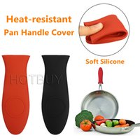 Wholesale silicone pot handles resale online - Silicone Pot Pan Anti skid Handle Holder Insulation Hot Sleeve Cover Grip Unique Kitchen Utensil Cookware Parts