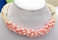 koralle porzellan halskette großhandel-Lustre 10-Stränge Barock-Halskette mit weißen Süßwasserperlen und rosa Korallen