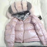 kürk tilki kürkü toptan satış-Kadınlar Kış Ceket Gerçek Kürk Doğal Tilki Kürk Yaka Gevşek Kısa Ceket Kore Parka Beyaz Ördek Aşağı Ceket