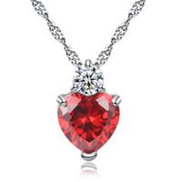 collar pendiente de piedra de moda al por mayor-Red Purple Crystal Zircon Stone Love Heart colgante, collar de mujer moda cuello gargantilla joyería 45cm 18