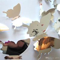 dreidimensionale wandabziehbilder großhandel-Spiegel Wandbilder Dreidimensionale Wandaufkleber 3D Künstliche Schmetterling Farbe Aufkleber Simulation Butterflys Home Kreative Decor 2dj ii