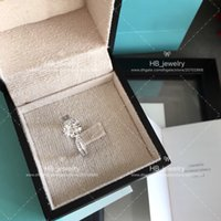 Wholesale imitation jewelry crystal box for sale - Group buy six claw karat ct diamond ring for lady T BRAND Logo Fashion Design Women Party Wedding Couple gift Luxury Imitation Jewelry With BOX