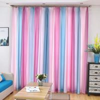 hermosas cortinas para el dormitorio al por mayor-Impreso nuevo colorido arco iris hermosa cortina de ventana para sala de estar 3D verde azul tul ventana tratamientos elegantes cortinas dormitorio cortinas