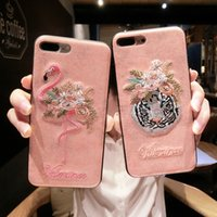 Wholesale handmade phone cases - Patterns Handmade 3D Embroidery Flamingo Pink Panther Phone Case For Iphone 6 6S 7 8 Plus X Leather Tiger Back Cover