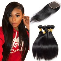 Wholesale unprocessed peruvian silk straight for sale - Group buy Silk Straight Mink Brazilian Hair Bundles With Lace Closure Cheap Unprocessed Remy Human Hair Bundles Malaysian Indian Peruvian Hair