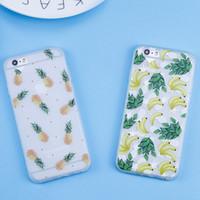 Wholesale Banana Phone Iphone Case - Fashion Funny Fruit Banana Pattern case For iphone 6 Case For iphone 7 6 6S 8 Plus case Pineapple TPU Phone Back Cover