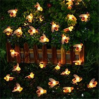 ingrosso luci fiabesche-5M 20LED Cute Bee Shape Led Light String Solar Led String Fairy Lights Outdoor Bee Garden Fence Luce decorazione estiva