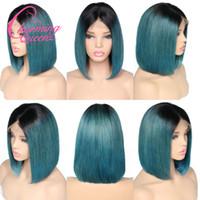 saç kesme bob toptan satış-T1B Renk Ombre İnsan Saç Peruk Siyah Kökleri Kesim Kısa Bob Peruk Orta Kısmı Doğal Saç Çizgisi Remy Brezilyalı İnsan Saç