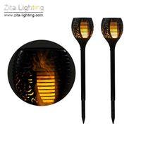 lampes solaires à pic achat en gros de-2Pcs / Lot Zita Éclairage Lampe de torche solaire LED Spike Flick Flicker Lampe de pelouse de jardin en plein air Étanche IP65 Cour Paysage Éclairage solaire