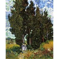weibliche figur ölgemälde großhandel-Handgemalte Vincent Van Gogh Öl Gemälde Leinwand Zypressen mit zwei weiblichen Figuren moderne Kunst Landschaft Wanddekoration