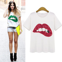 el baskısı gömlek toptan satış-Avrupa Tarzı Bayan Moda Kısa kollu Tişört Yaz Yeni Dudaklar Ile El-baskılı Üstleri Büyük Boy S-XXL O-Boyun Rahat Ince Rahat