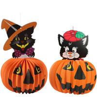 ingrosso lanterna di pipistrello-Ognissanti zucca fantasma strega pipistrello appeso ornamenti ciondolo carta lanterna bar KTV decorazione di Halloween per feste